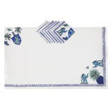 Tablecloth set with eight Napkins Pop of Arms in Linen - White - Renaissance Pop - Sans Tabù