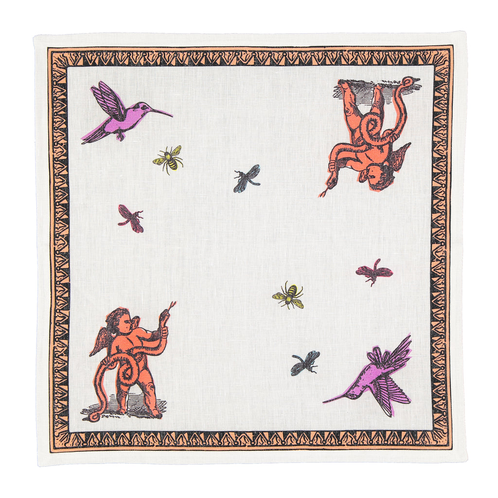 Tablecloth set with eight Napkins Pop of Arms in Linen - White and Pink - Renaissance Pop - Sans Tabù