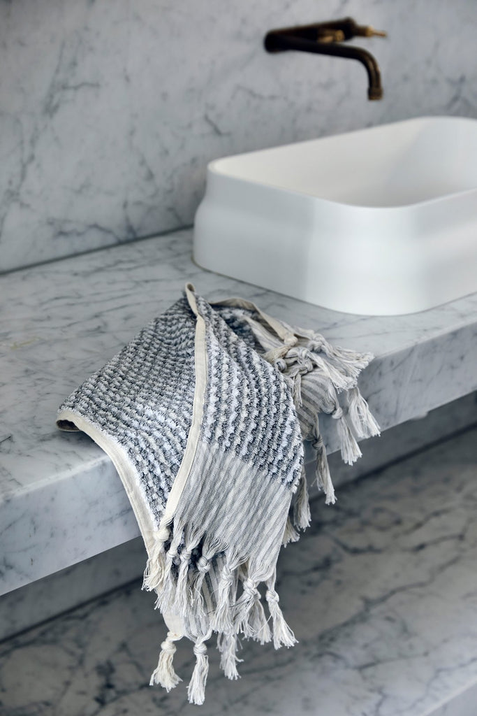 Grey & White Wave Towels