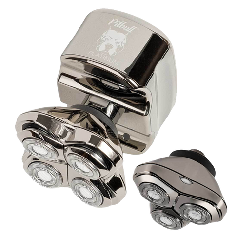 skull shavers pitbull platinum pro comes with two blades for bald head shaving and face shaving