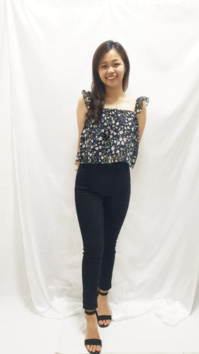 Kaia Floral Top in Navy - BellissimoLabel