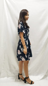 Premium - Waverly Floral Dress in Navy - BellissimoLabel