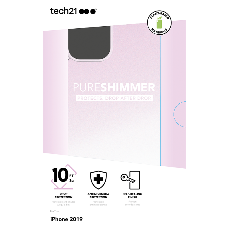 Tech21 PURE SHIMMER Pink保護殻 - iPhone 11 / Pro / Pro Max專用