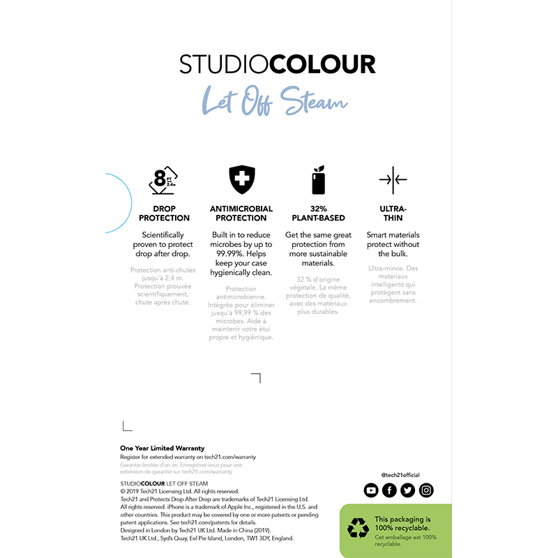 Tech21 Studio Colour Pewter保護殻 - iPhone 11 / Pro / Pro Max專用