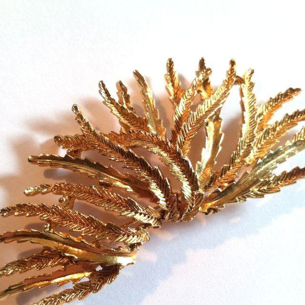 Organic Seagrass Design Goldtone Metal circa 1970s Monet