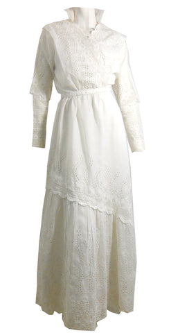 Romantic White Three Piece Lace and Cotton Wedding or Summer Dress circa Early 1900s