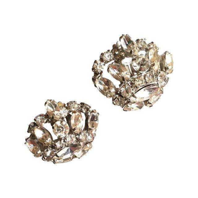 Regal Crown Shaped Bright Rhinestone Clip Earrings circa 1950s Dorothea's Closet Vintage Jewelry