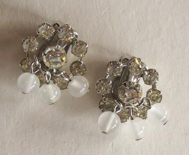 Rhinestone 1950s Clip Earrings w/ Opaque Bead Dangles by Weiss