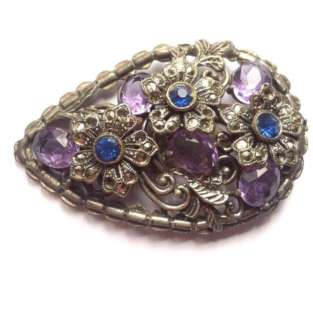 Blue and Purple Glass and Rhinestone Marcasite Fur Clip circa 1930s Dorothea's Closet Vintage Jewelry