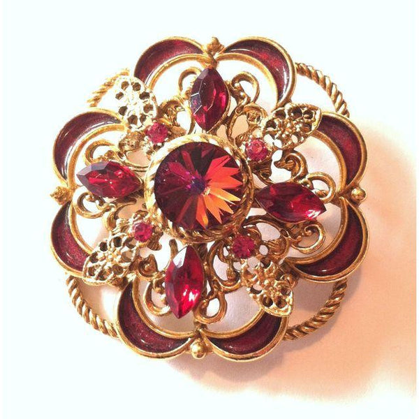 Scarlet Red Rivoli Crystal Enameled Statement Brooch circa 1960s
