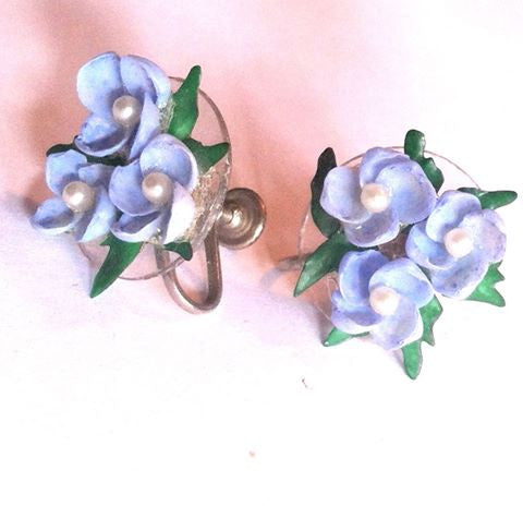 Sea Sky Blue Seashell Flower Earrings circa 1950s