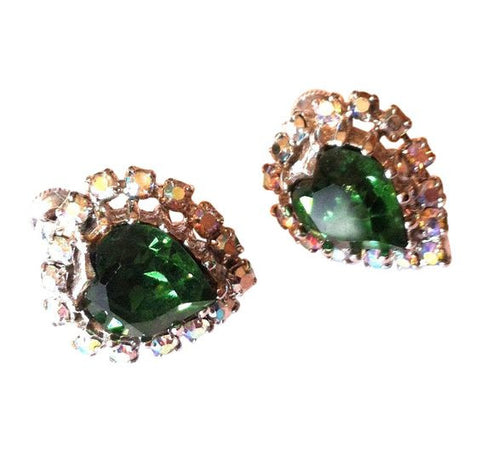 Brilliant Emerald Green Heart Shaped Rhinestone Clip Earrings circa 1950s Coro