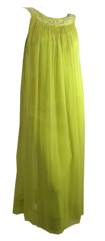 Alluring Green Goddess Chartreuse Grecian Inspired Chiffon Gown circa 1960s
