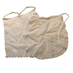 Two Lawn Cotton Embroidered Mini Aprons with Lace circa 1910