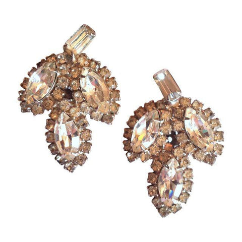 Bright Sparkling Large Leaf Shaped Rhinestone Clip Earrings circa 1950s