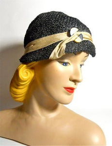Pewter Grey Sisal 1930s Cloche Hat with Deco Trimming