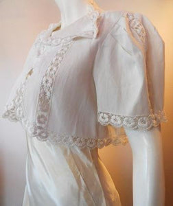 White Ribbed Cotton  Lace Trimmed Cropped 1930s Jacket