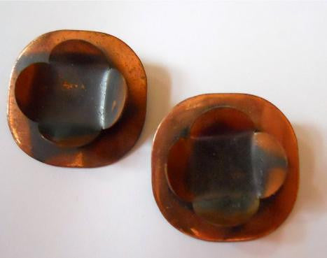 Abstract Moderne Copper 1950s Clip Earrings