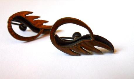 Rejabes Flame Design Carved Copper 1940s Earrings