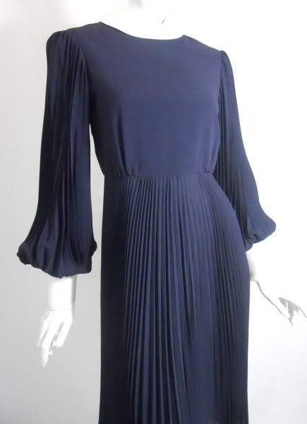 Pleated Space Age Blue and White Dress circa 1960s Teal Traina