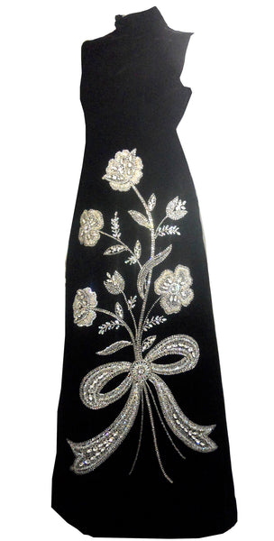 Sparkling Drama Rhinestone and Crystal Adorned Black Velvet 1960s Evening Gown Mr. Blackwell Custom