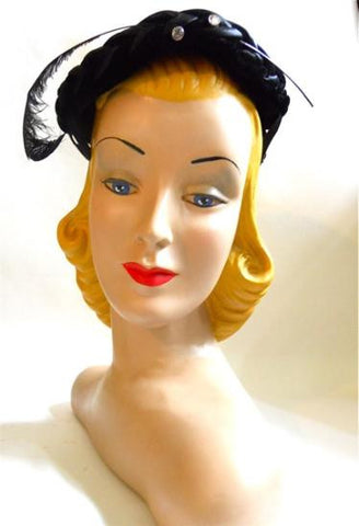Curved Plume Topped Black Satin Hat circa 1950s