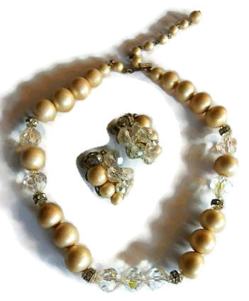 Matte Faux Pearl and Crystal Necklace and Clip Earring Set circa 1960s