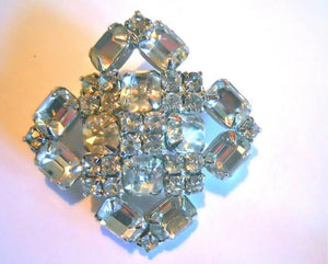 Big Bright Rhinestone Statement 1950s Brooch