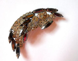 Pewter and Clear Rhinestone Crescent 1950s Brooch
