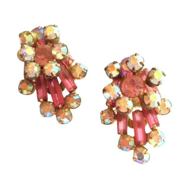 Comet Burst Pink Rhinestone Clip Earrings circa 1960s Dorothea's Closet Vintage Jewelry