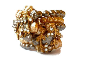 Haskell Style Baroque Faux Pearl and Rhinestone Wire Bracelet circa 1960s