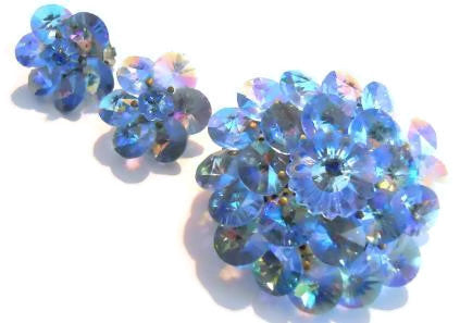 Iridescent Blue Rivoli Crystal Brooch and Clip Earrings circa 1960s