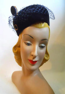 Blue Felted Wool Pillbox Hat w/ Safety Pin Accent circa 1960s by Mr. John