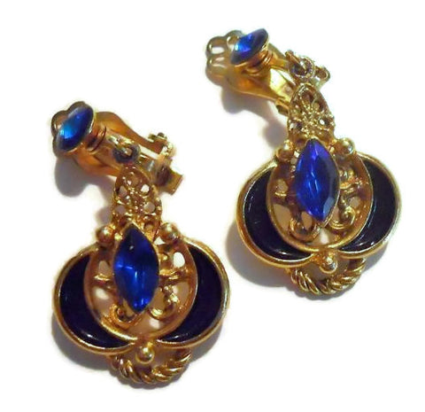 Blue and Gold Rhinestone Drop Clip Earrings circa 1960s