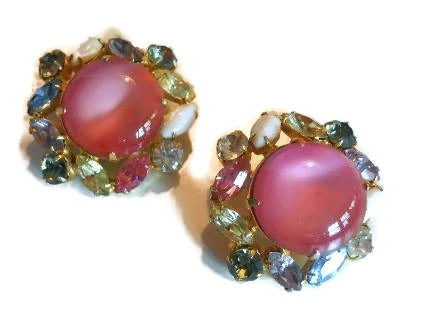 Hobe' Rhinestone and Pink Cab Clip Earrings circa 1960s