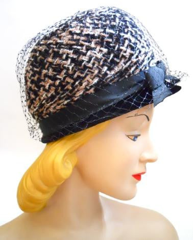Mod Tweed Black and Grey 1960s Bubble Hat