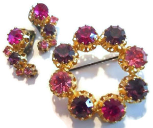 Pink & Purple Rhinestone Brooch and Clip Earrings circa 1960s
