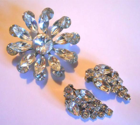 Floral Shaped Rhinestone Brooch and Clip Earrings circa 1960s