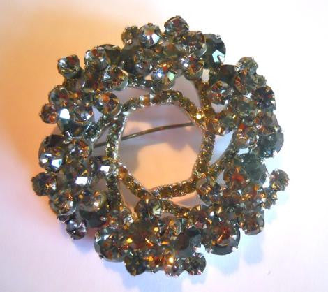 Smokey Rhinestone Statement 1960s Brooch