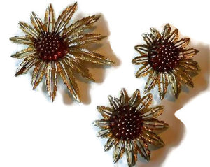 Set Amber Hued Rhinestone Brooch and Clip Earrings circa 1960s