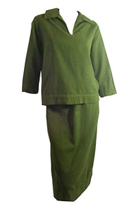 Mossy Green Flecked Wool Two Piece Dress set circa 1950s