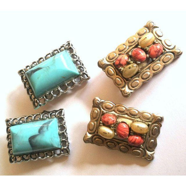 Rock Collector Set 2 Pairs Earthy Faux Stone Clip Earrings circa 1960s