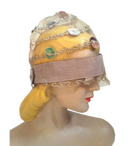 Sheer Horsehair Mesh Braid 1920s Cloche w/ Silk Velvet Discs