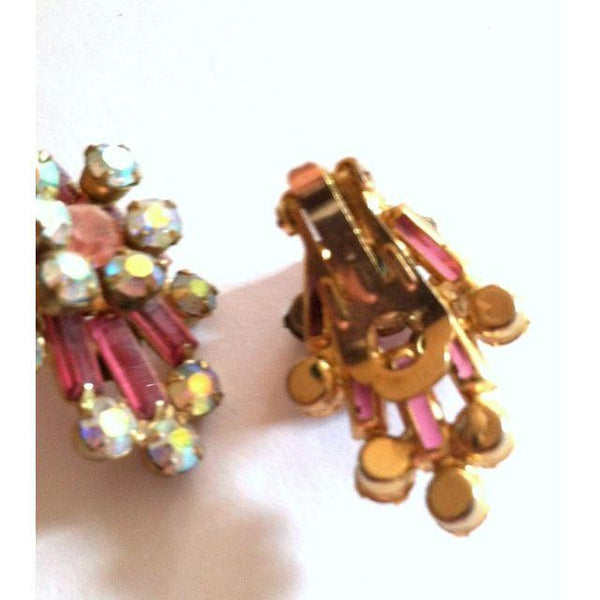 SALE Comet Burst Pink Rhinestone Clip Earrings circa 1960s