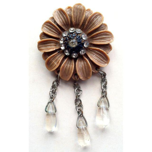Thermoset Plastic Cocoa Flower Brooch w/ Rhinestones and Dangles circa 1960s