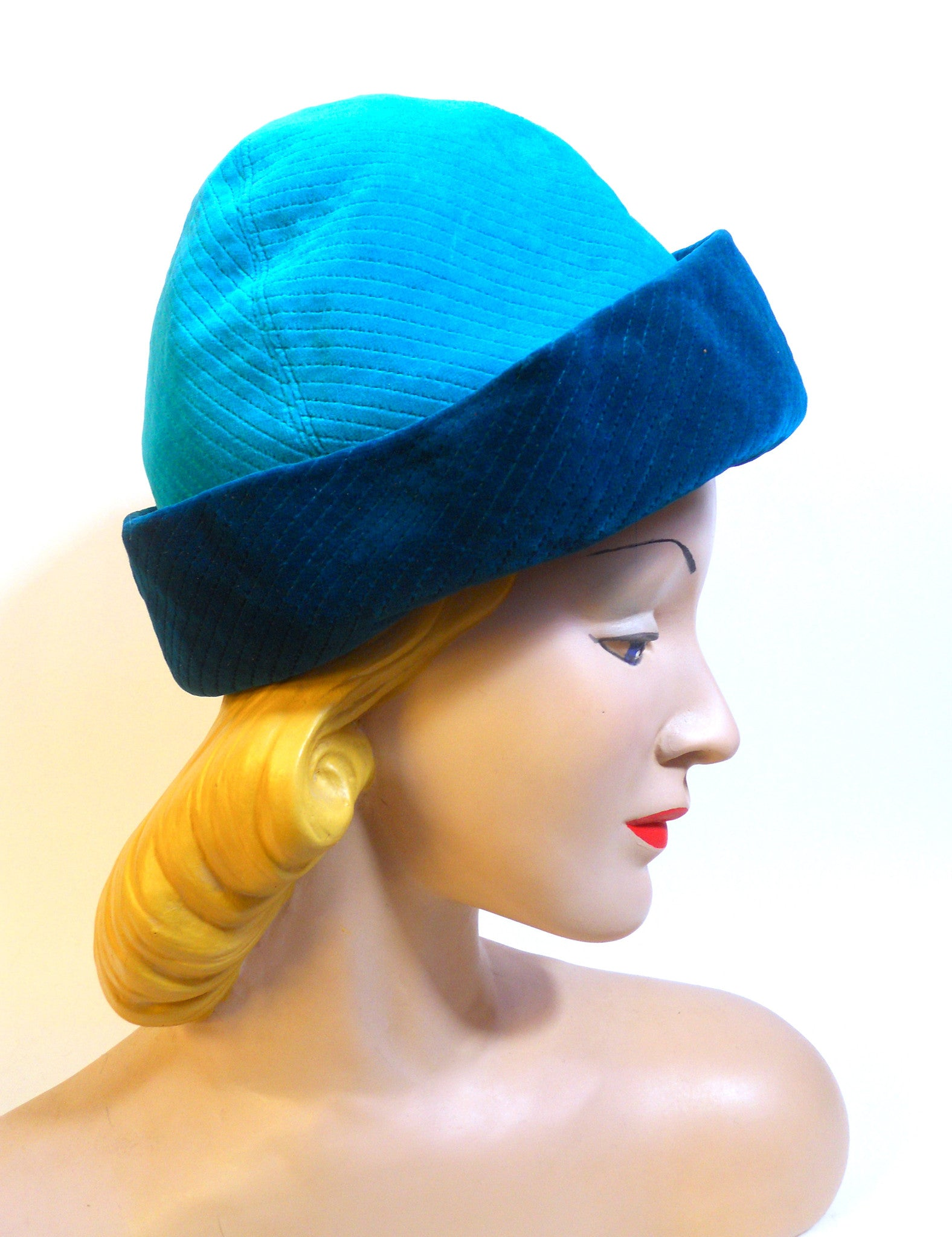 Quilted Velvet 2 Tone Blue Hat circa 1960s