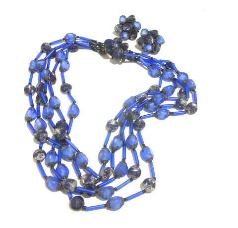 Swirled Blue Beaded Multi-Strand Necklace and Clip Earrings circa 1960s