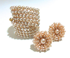 Champagne Faux Pearl Wired Bracelet and Clip Earrings circa 1960s