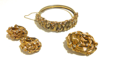 Wire Art Victorian Inspired Gold and Rhinestone Bracelet, Pin & Earrings circa 1960s