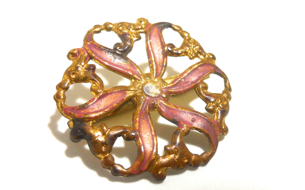 Pink Enameled Pinwheel Sash Pin circa Early 1900s